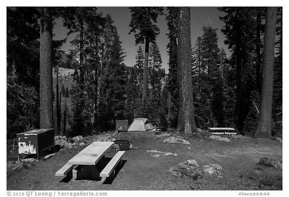 Southwest campground. Lassen Volcanic National Park (black and white)