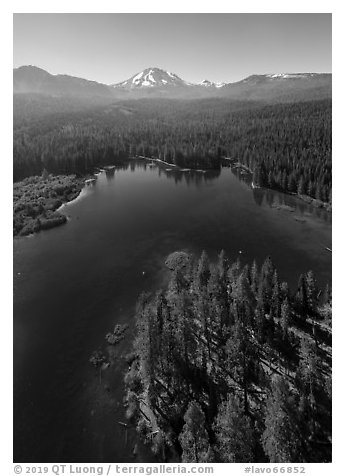 Aerial view of Manzanita Lake, Chaos Crags, and Lassen Peak. Lassen Volcanic National Park (black and white)