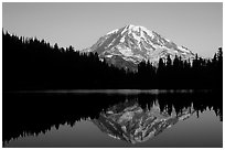 Mt Rainier with perfect reflection in Eunice Lake at sunset. Mount Rainier National Park ( black and white)