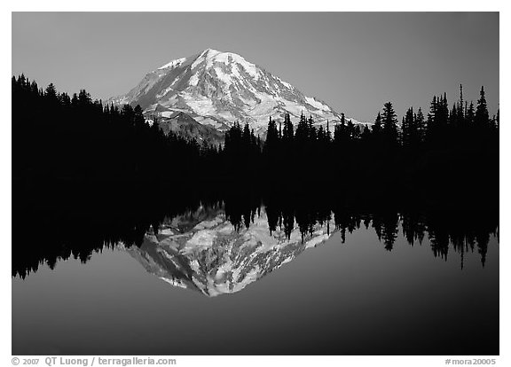 Mount Rainier with calm reflection in Eunice Lake, sunset. Mount Rainier National Park (black and white)