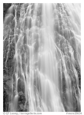 Narada falls detail. Mount Rainier National Park (black and white)