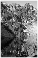 Cliffs reflected in Eunice Lake. Mount Rainier National Park, Washington, USA. (black and white)