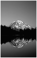 Mt Rainier reflected in Eunice Lake, afternoon. Mount Rainier National Park, Washington, USA. (black and white)