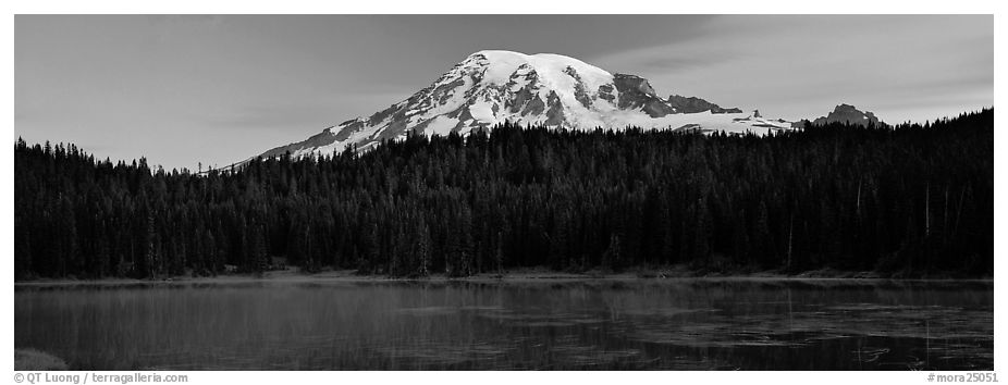 Lake, forest, and Mount Rainer at dawn. Mount Rainier National Park (black and white)