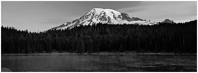Lake, forest, and Mount Rainer at dawn. Mount Rainier National Park (Panoramic black and white)