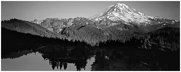 Lake and distant Mount Rainier. Mount Rainier National Park (Panoramic black and white)