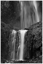 Upper and medium tiers of Comet Falls. Mount Rainier National Park ( black and white)