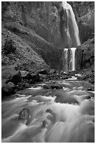 Flowing creek and Comet Falls. Mount Rainier National Park ( black and white)