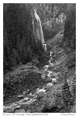 320-foot waterfall (Comet Falls). Mount Rainier National Park (black and white)