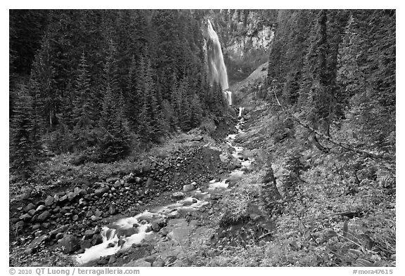 Comet Falls and Van Trump Creek. Mount Rainier National Park (black and white)