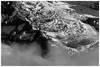 Glaciers and fog. Mount Rainier National Park ( black and white)