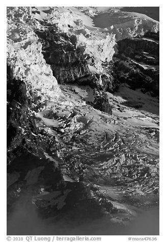 Glaciers, crevasses, and seracs. Mount Rainier National Park (black and white)