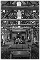 Paradise Inn Lobby. Mount Rainier National Park, Washington, USA. (black and white)