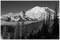 Mount Rainier from Sunrise. Mount Rainier National Park, Washington, USA. (black and white)