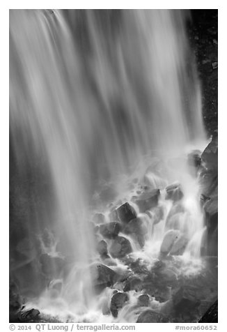 Water flowing at the base of Narada Falls. Mount Rainier National Park (black and white)