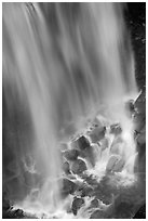 Water flowing at the base of Narada Falls. Mount Rainier National Park ( black and white)