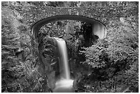 Stone Bridge and Christine Falls. Mount Rainier National Park ( black and white)