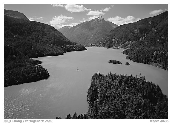 Turquoise waters in Diablo lake, North Cascades National Park Service Complex.  (black and white)