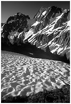 Late summer snow and peaks, Cascade Pass area, morning, North Cascades National Park. Washington, USA. (black and white)