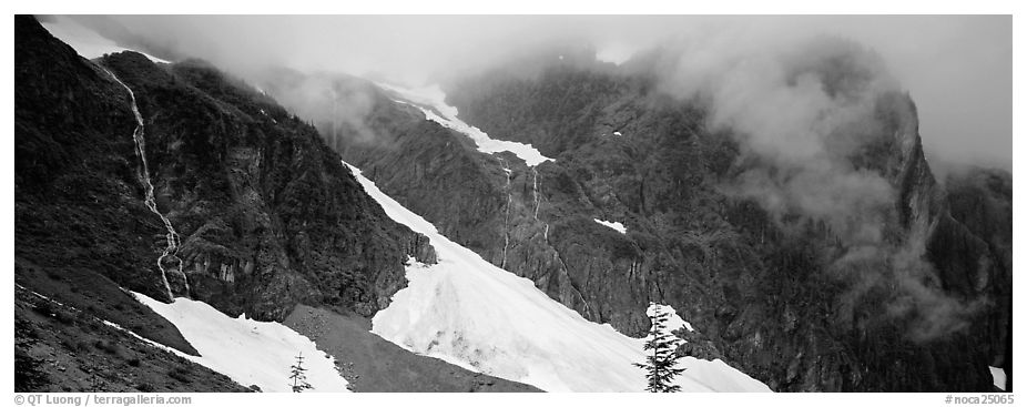 Waterfalls, neves, and clouds, North Cascades National Park.  (black and white)