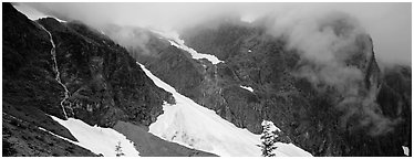 Waterfalls, neves, and clouds, North Cascades National Park.  (Panoramic black and white)