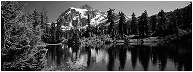 Mount Shuksan,  North Cascades National Park.  (Panoramic black and white)