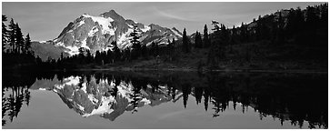 Lake with mountain reflection, North Cascades National Park.  (Panoramic black and white)