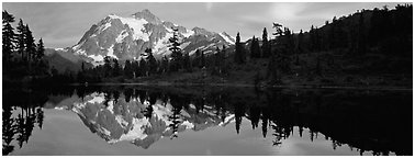 Mount Shuksan reflected in lake at sunset,  North Cascades National Park.  (Panoramic black and white)