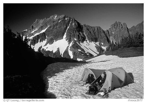 Camping on neve below Sahale Peak, North Cascades National Park.  (black and white)