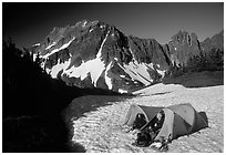 Camping on neve below Sahale Peak, North Cascades National Park. Washington, USA. (black and white)