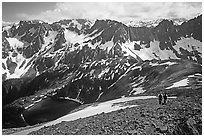 Hiking down from Sahale Peak to Cascade Pass,  North Cascades National Park. Washington, USA. (black and white)