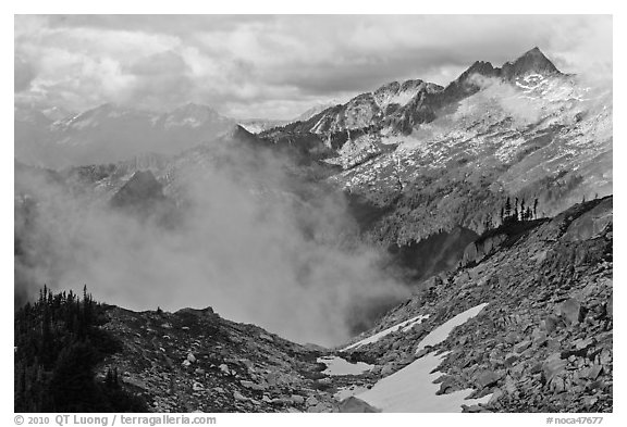 Mountains and clouds above South Fork of Cascade River, North Cascades National Park.  (black and white)