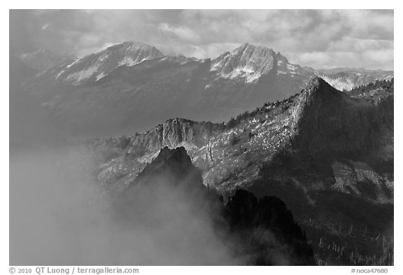 Mountain ridges and clouds, North Cascades National Park.  (black and white)