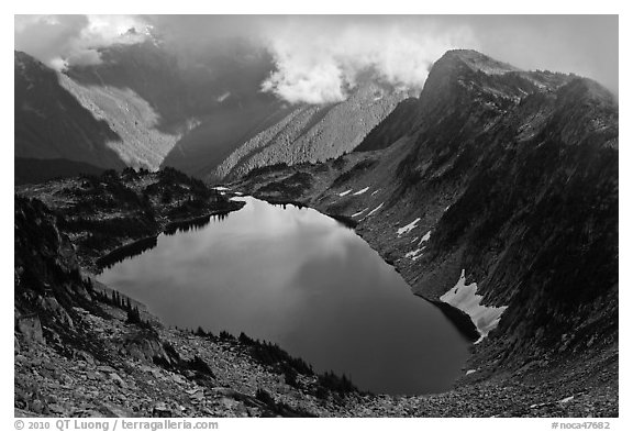 Hidden Lake and clouds, North Cascades National Park.  (black and white)
