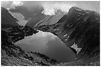 Hidden Lake and clouds, North Cascades National Park.  ( black and white)