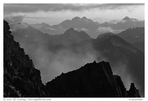Receding mountain ridges, North Cascades National Park.  (black and white)