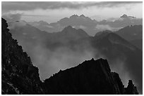 Receding mountain ridges, North Cascades National Park.  ( black and white)
