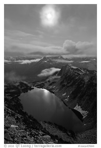 Moon above Hidden Lake, North Cascades National Park.  (black and white)