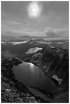 Moon above Hidden Lake, North Cascades National Park. Washington, USA. (black and white)