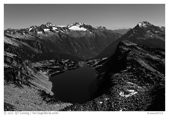 Hidden Lake under a full moonlight, North Cascades National Park.  (black and white)