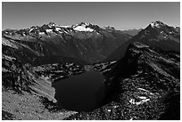 Hidden Lake under a full moonlight, North Cascades National Park.  ( black and white)