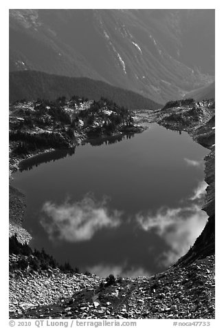 Hidden Lake, with clouds reflected, North Cascades National Park.  (black and white)