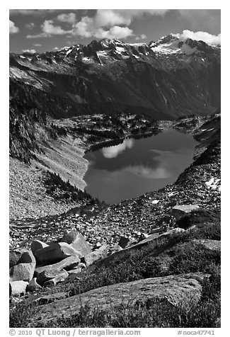 Forbidden, Boston, and Sahale Peak above Hidden Lake, North Cascades National Park.  (black and white)