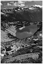 Forbidden, Boston, and Sahale Peak above Hidden Lake, North Cascades National Park.  ( black and white)