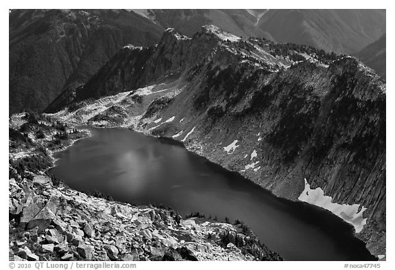 Hidden Lake from Hidden Lake Peak, North Cascades National Park.  (black and white)