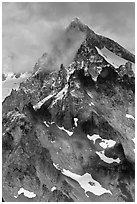 Cloud-shrouded Eldorado Peak, North Cascades National Park.  ( black and white)