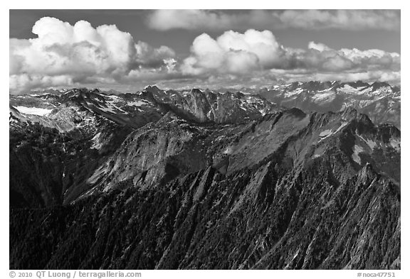 Mountains and afternoon cumulus clouds, North Cascades National Park.  (black and white)