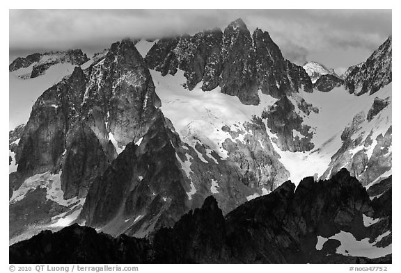 Early Morning Spires, North Cascades National Park.  (black and white)