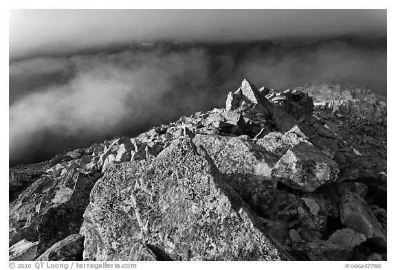 Rocky ridge and clouds, Hidden Lake Peak, North Cascades National Park.  (black and white)