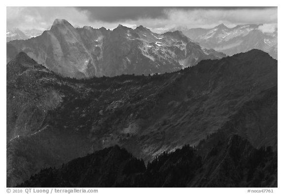 Distant ridges in storm light, North Cascades National Park.  (black and white)